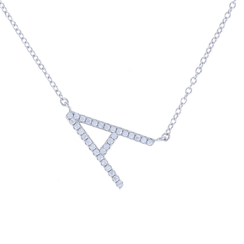 Sterling Silver & Cubic Zirconia Letter A initial Necklace