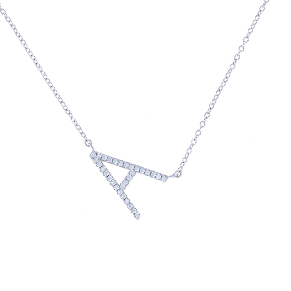Sideways Letter A Initial Necklace in Sterling Silver with Cubic Zirconia Stones - Alexandra Marks