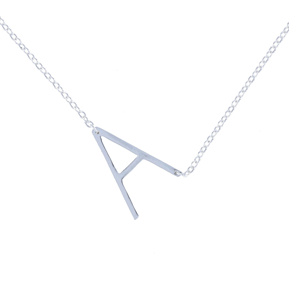 Sterling Silver Letter A initial necklace from Alexandra Marks Jewelry