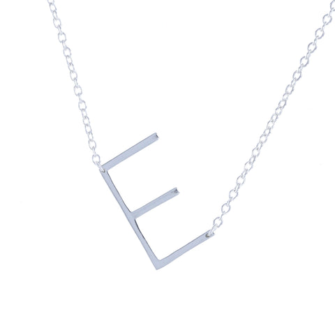 Silver Plain Letter E Sideways Initial Necklace