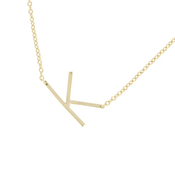 sideways letter k initial necklace in gold plated sterling silver