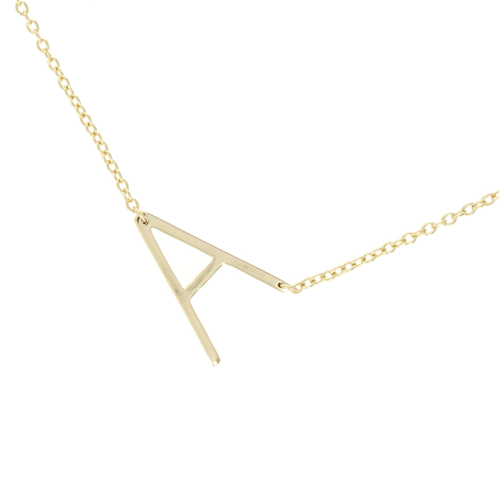 Simple letter a initial necklace in gold
