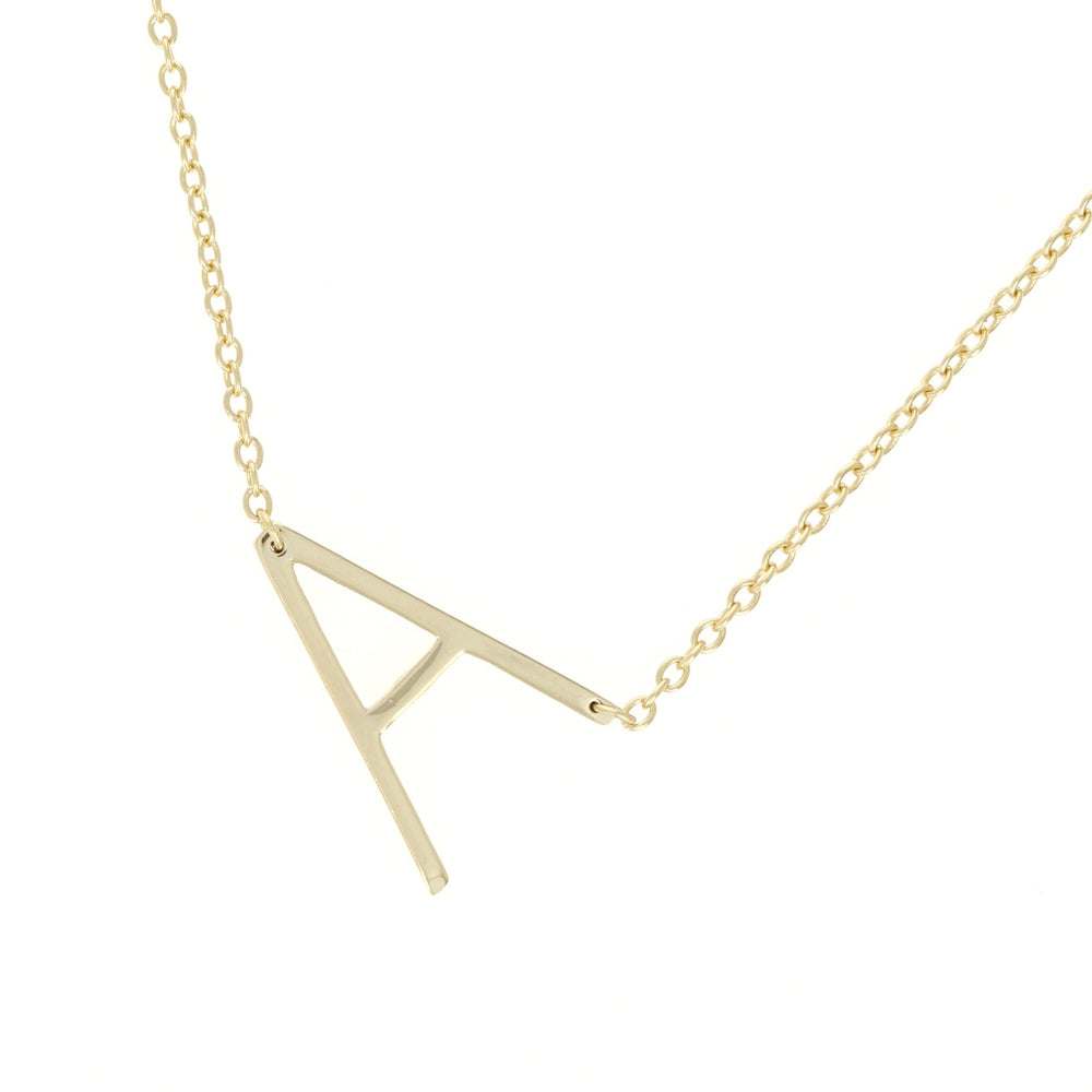Load image into Gallery viewer, Alexandra Marks - silver letter A gold initial necklace, 18""