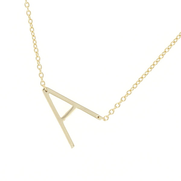 Sideways Letter A Initial Necklace in Gold Plated Sterling Silver from Alexandra Marks Jewelry