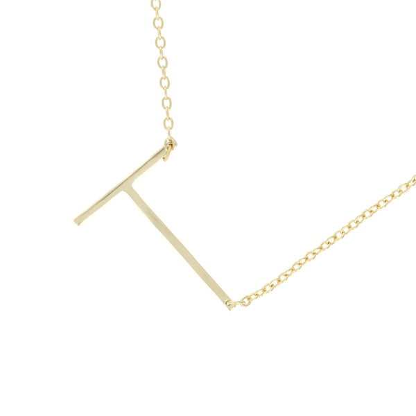 Sideways Letter T initial necklace in gold plated sterling silver