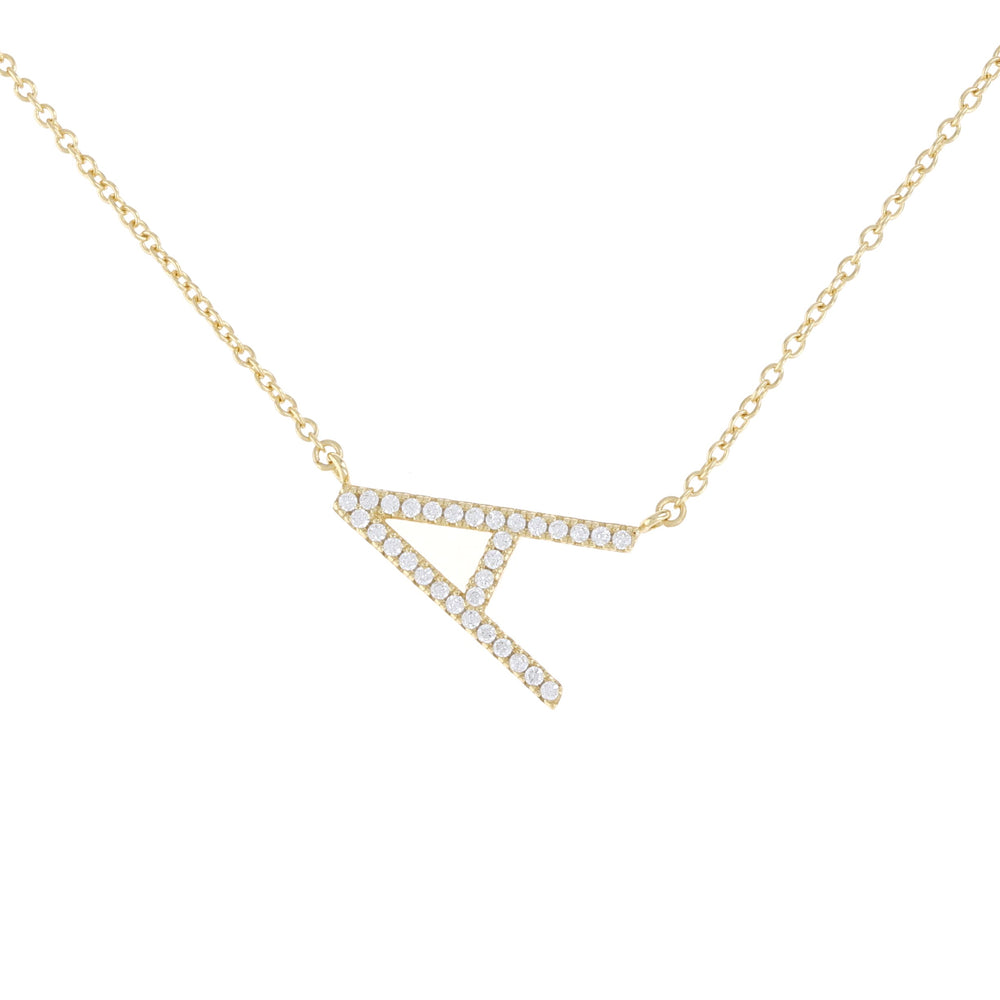 Load image into Gallery viewer, Alexandra Marks - sideways gold cz letter A necklace