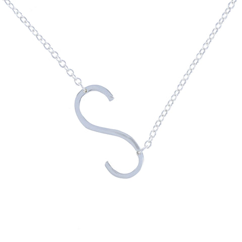 Sideways Sterling Silver Letter S Initial Necklace