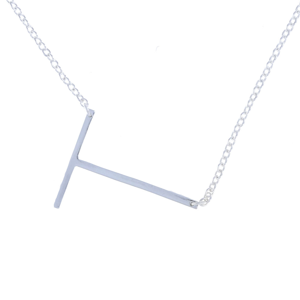 Sterling silver sideways plain letter T initial necklace