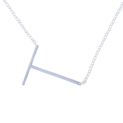 Sterling silver sideways plain initial necklace