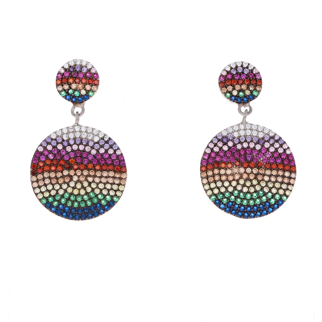 Rainbow Double Disc Drop Earrings