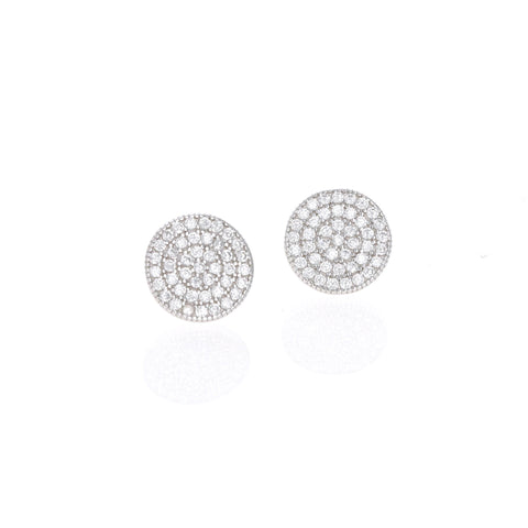 Silver Pave Disc Stud Earrings