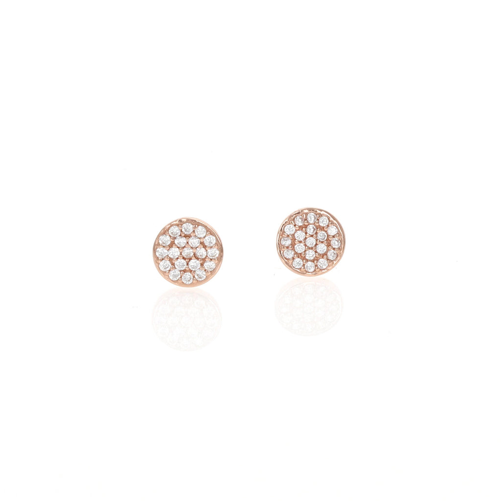 Tiny Disc Rose Studs