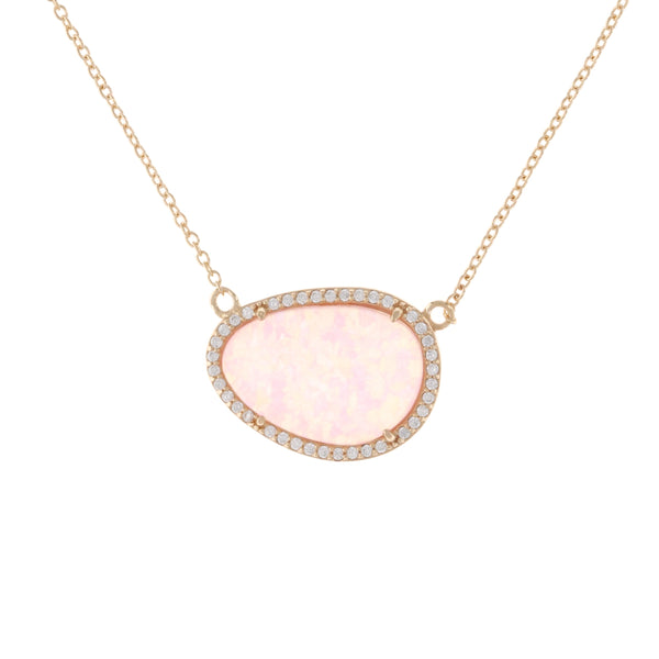 Pink Opal Doublet Gold Necklace