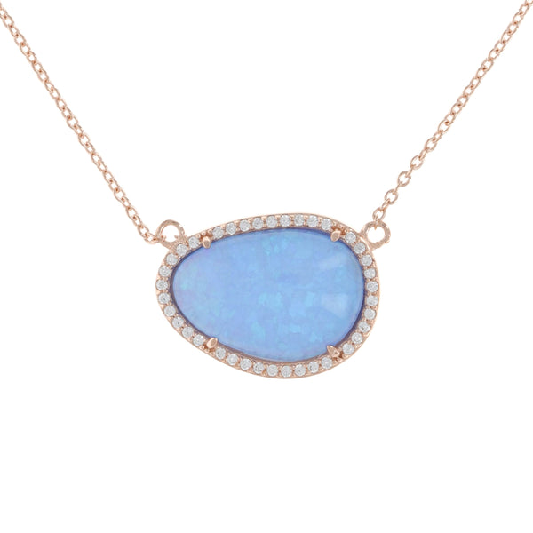 Blue Opal Doublet Rose Necklace