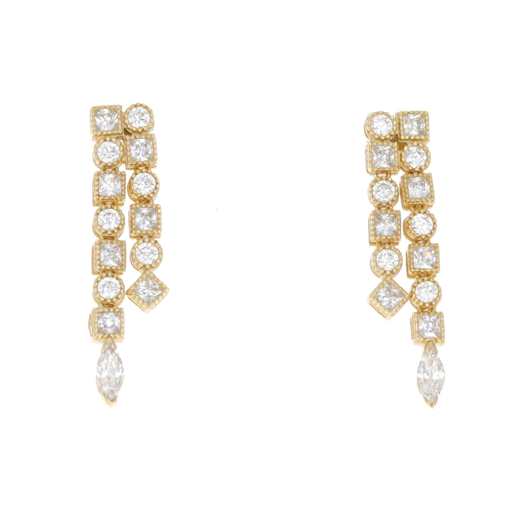 Double Art Deco Drop Earrings