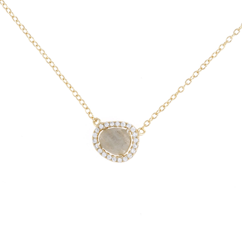 Oval labradorite necklace with cz halo in gold