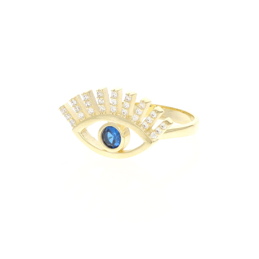 Blue Cz Open Evil Eye Ring in Gold - Alexandra Marks Jewelry