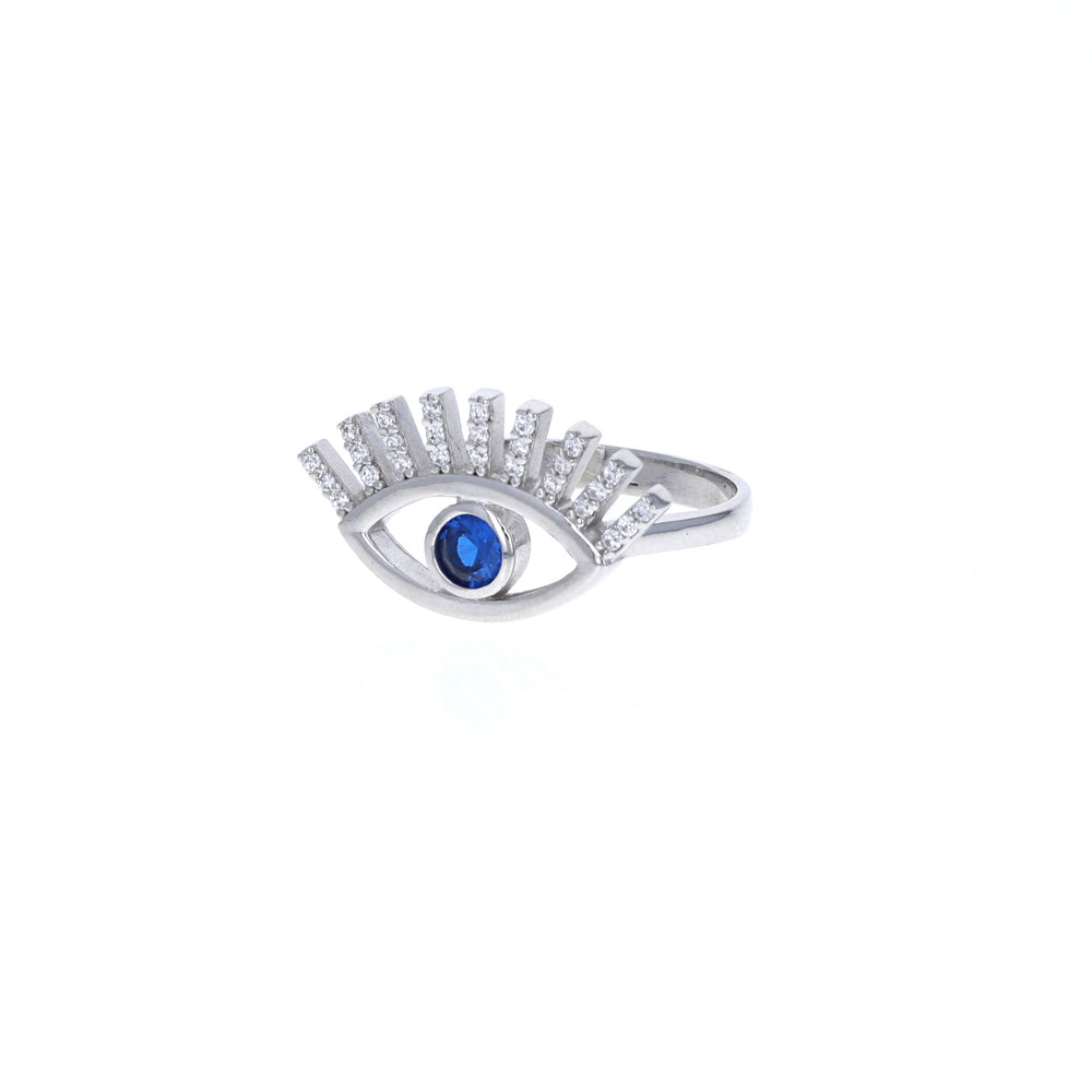 Blue Cz Open Evil Eye Ring in Sterling Silver - Alexandra Marks Jewelry
