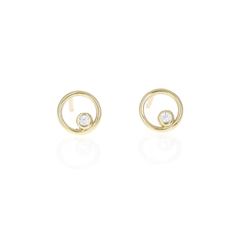 Dainty Open Circle Stud Earrings