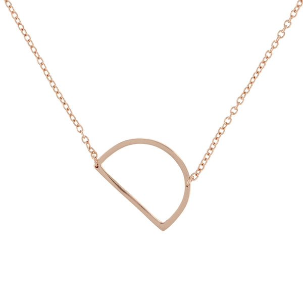 Sideways letter D necklace in rose gold