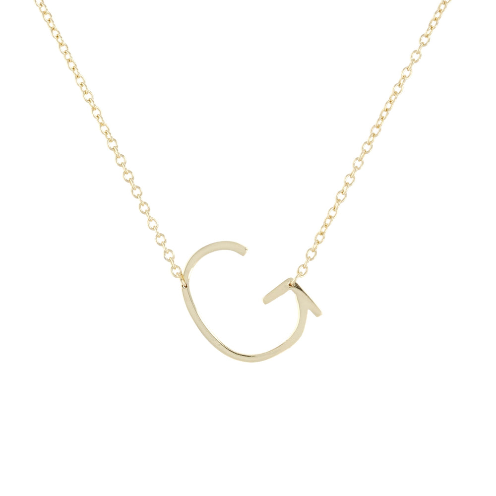 simple letter g initial necklace, gold