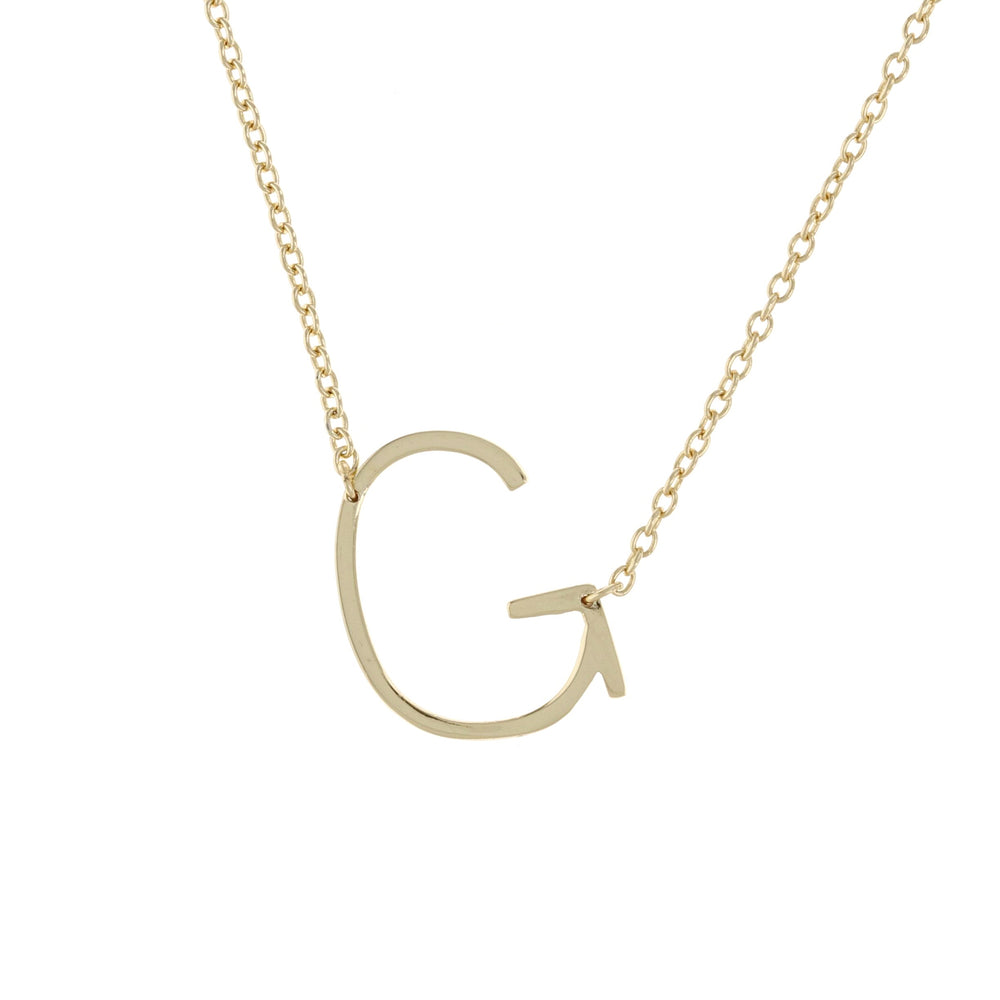 Sideways letter G initial necklace, gold - Alexandra Marks Jewelry