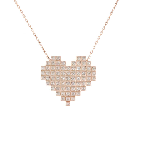 Rose Gold Geometric Heart Necklace
