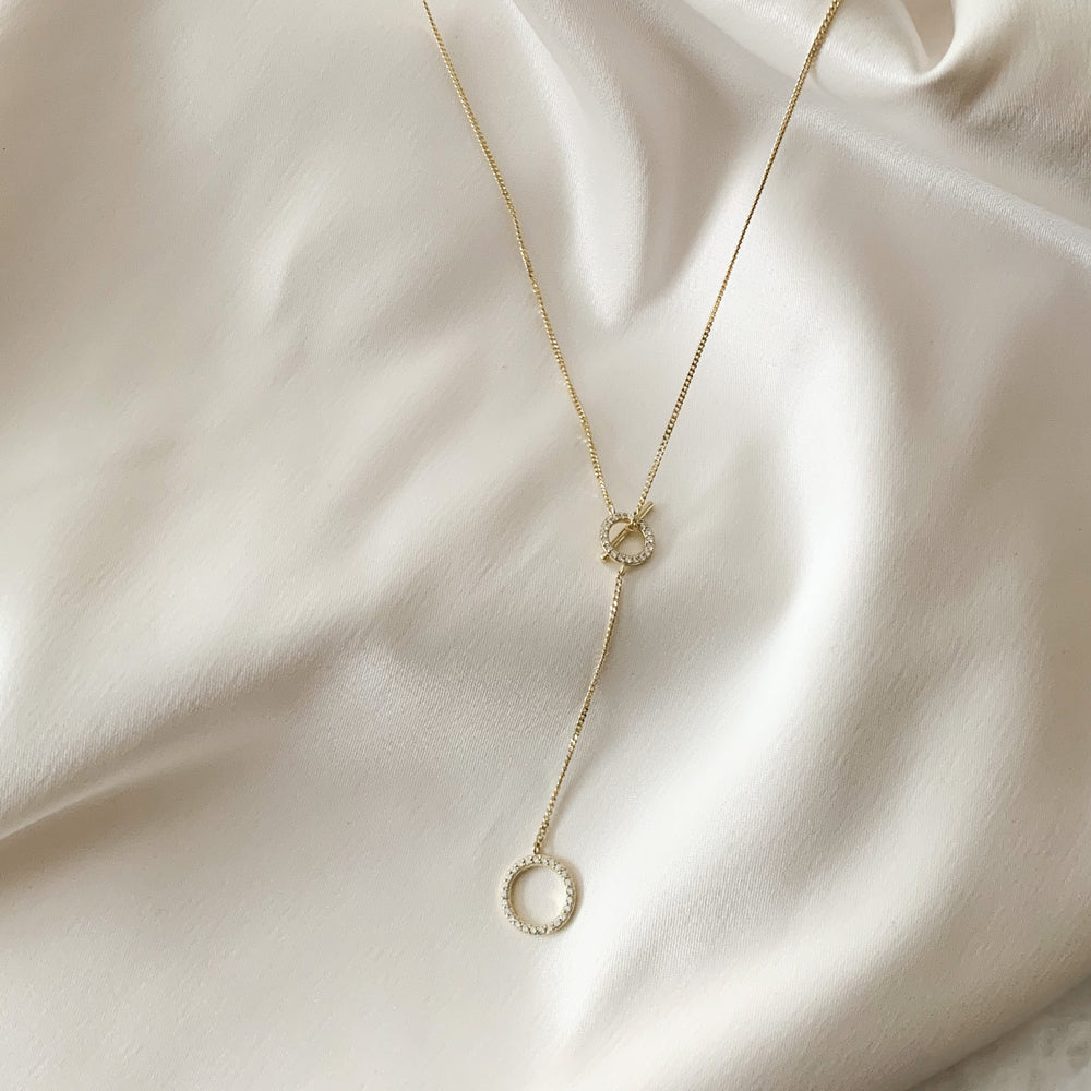 Double CZ Circle Geometric Gold Y Necklace - Alexandra Marks Jewelry