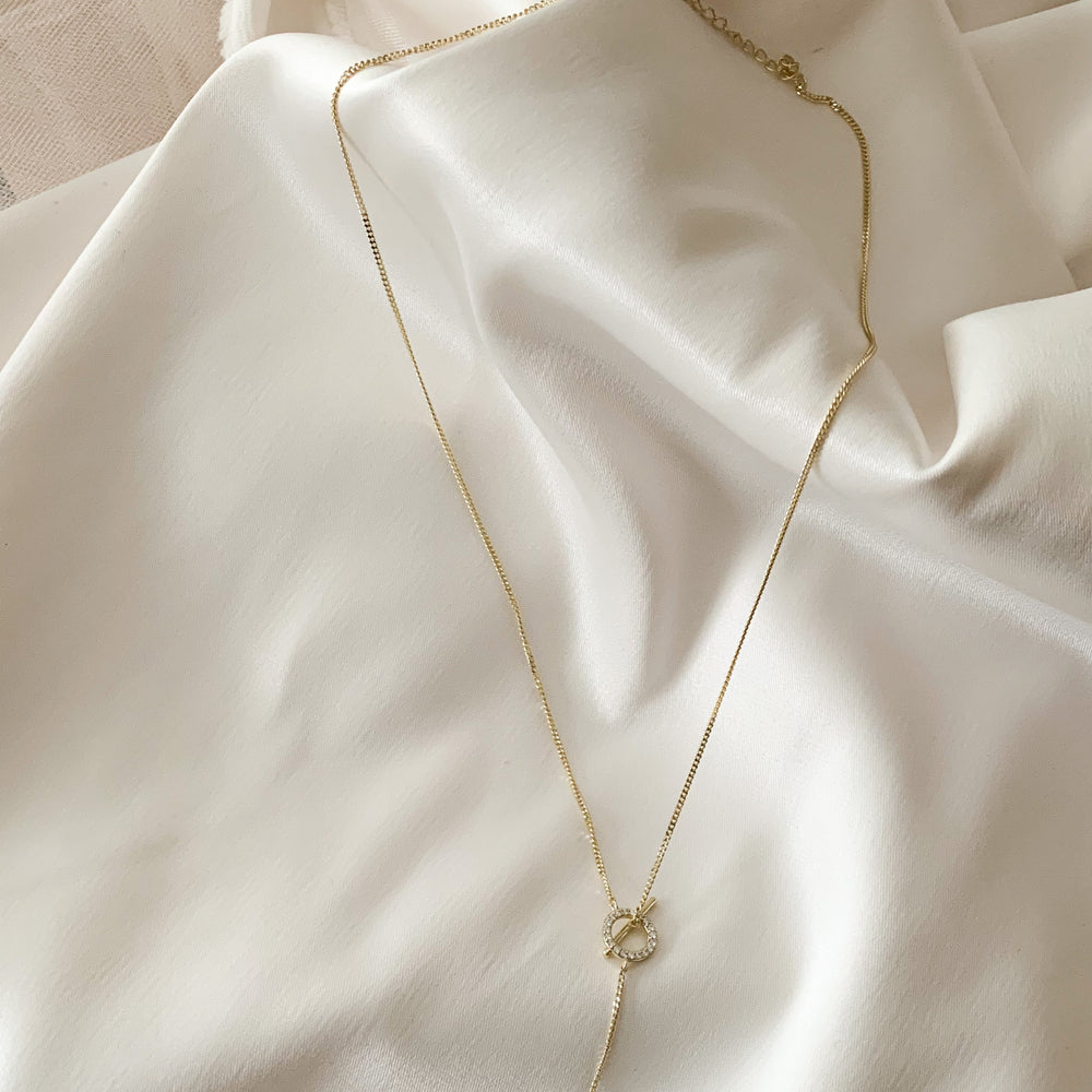 Gold Chain Y-Necklace with adjustable clasp from Alexandra marks jewelry