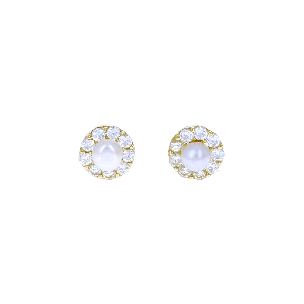 Load image into Gallery viewer, Pearl Halo Stud Earrings