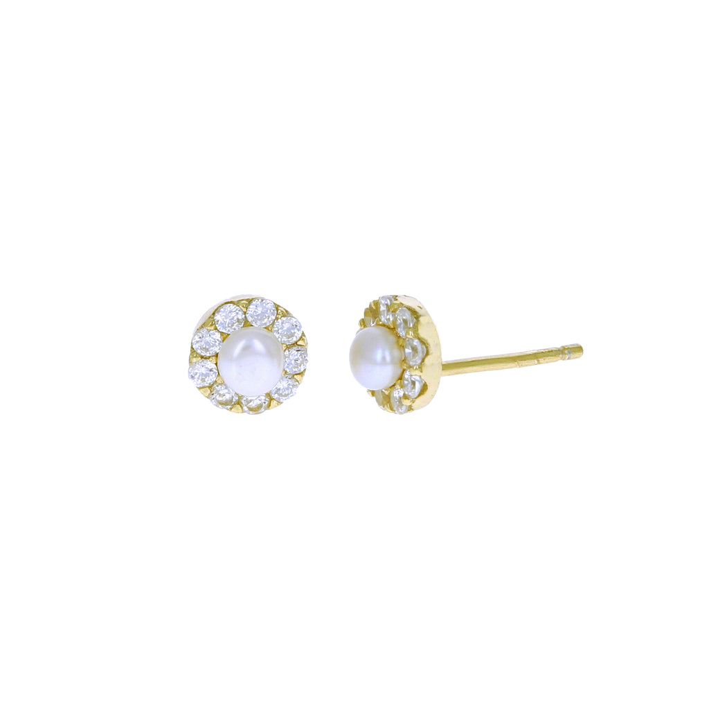 Pearl Halo Stud Earrings