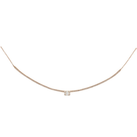 Diamond Curved Bar Statement Necklace