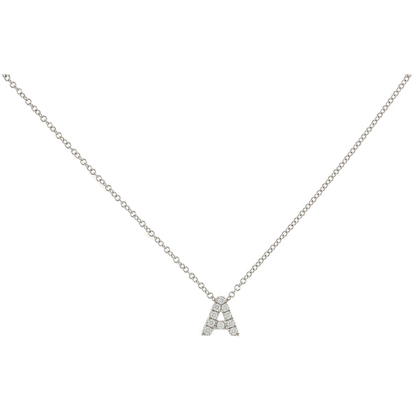 Letter A Diamond Initial Necklace in 14kt White Gold