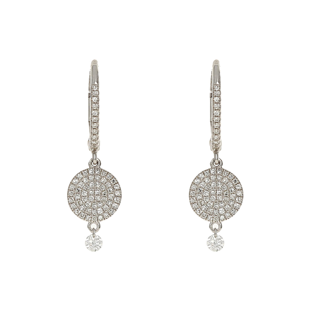 Diamond Disc & Charm Drop Earrings