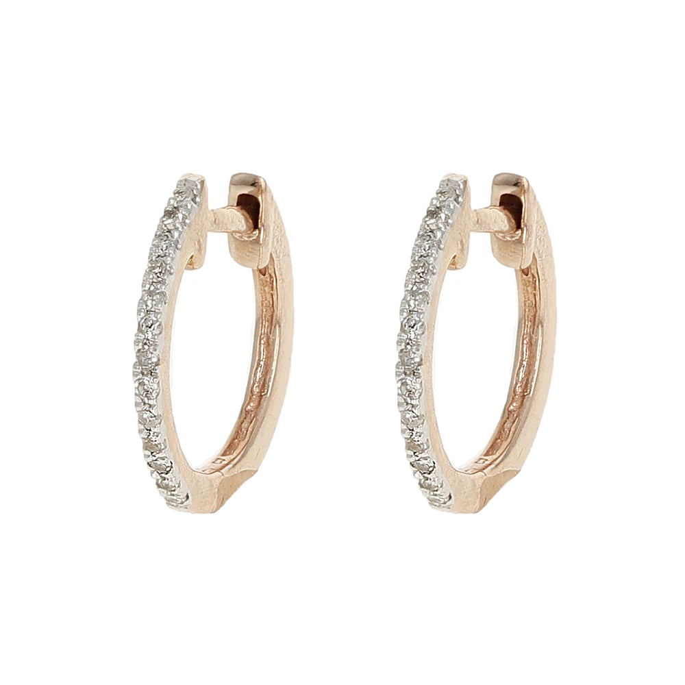 Rose gold & Diamond huggie hoop earrings