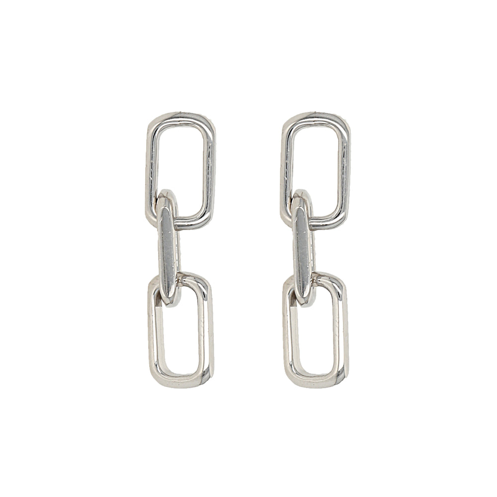 Silver oval link chain drop earrings