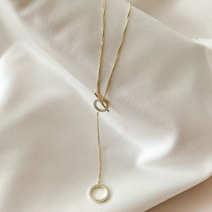 Simple Circle Gold Lariat Necklace from Alexandra Marks Jewelry