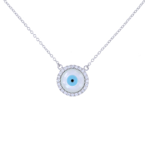 Large Pearl Evil Eye Necklace