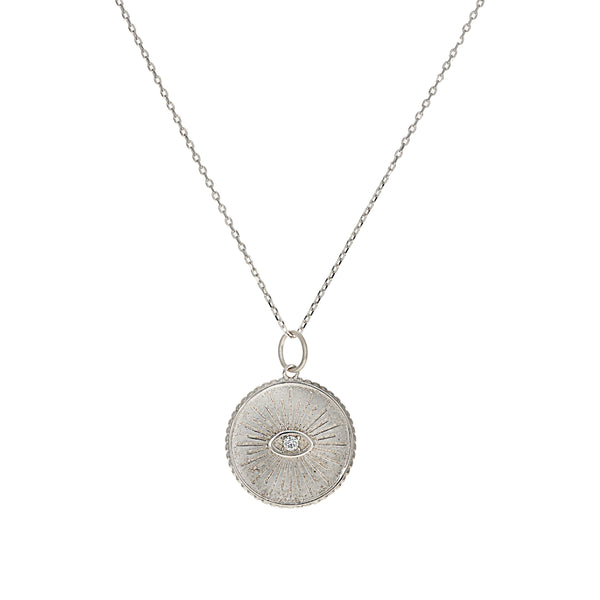 Wise Evil Eye Coin Disc Necklace featuring a clear cubic zirconia stone at the center of the evil eye