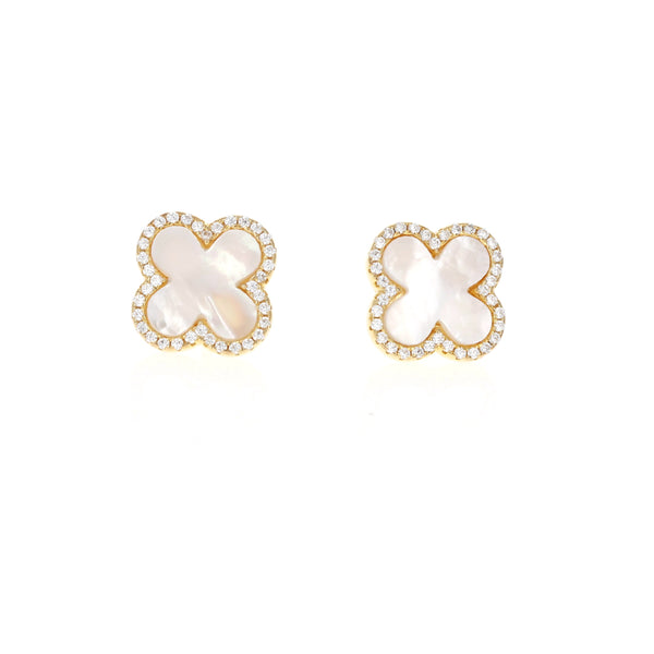 White Pearl Golden Clover Earrings