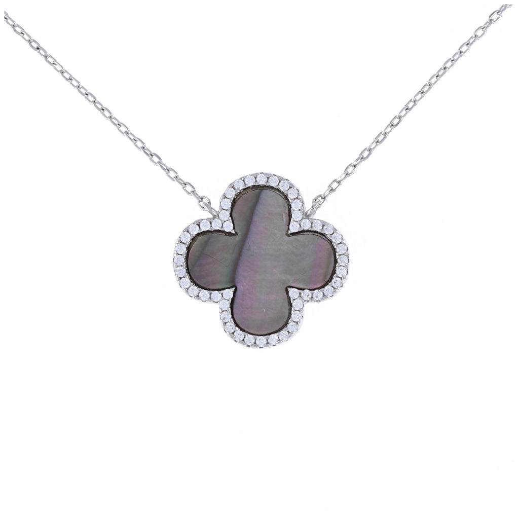 Black Pearl Clover Necklace