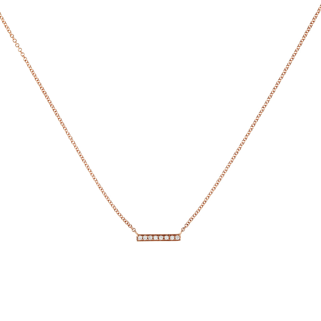 Tiny Diamond Bar Necklace in Rose