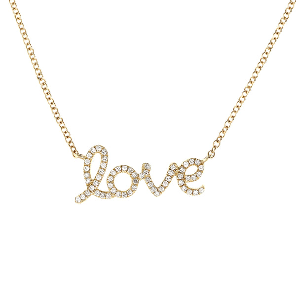 Diamond Love Script Gold Necklace