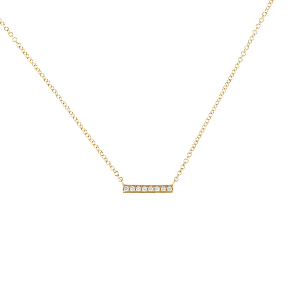 Tiny Diamond Bar Gold Necklace