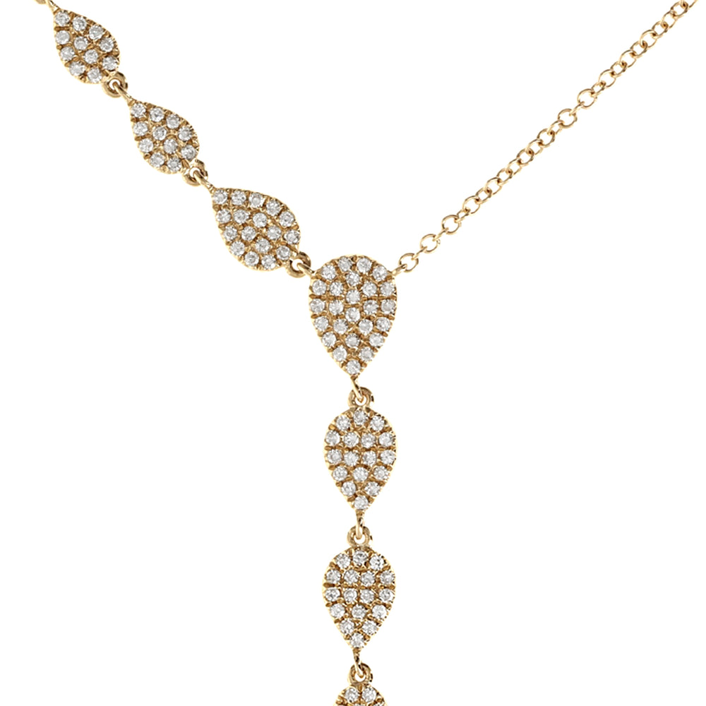 Load image into Gallery viewer, Diamond Teardrop Gold Y-Necklace
