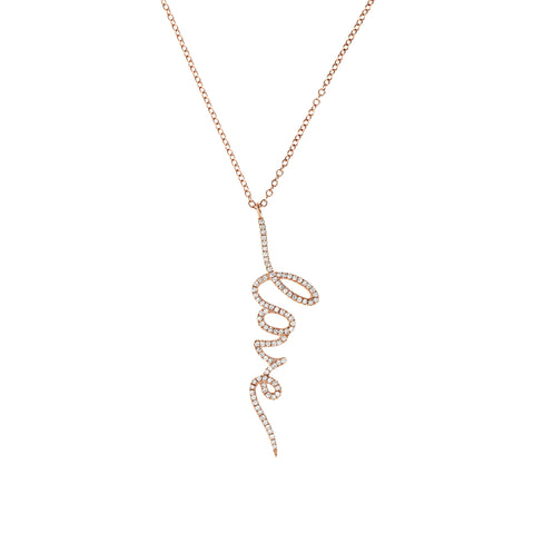 Diamond Love Drop Rose Gold Necklace