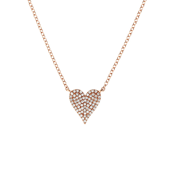 Diamond Heart Rose Necklace