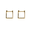 Square Diamond Huggies Gold Earrings