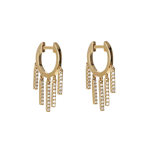 Diamond Bar Charm Gold Huggie Hoops