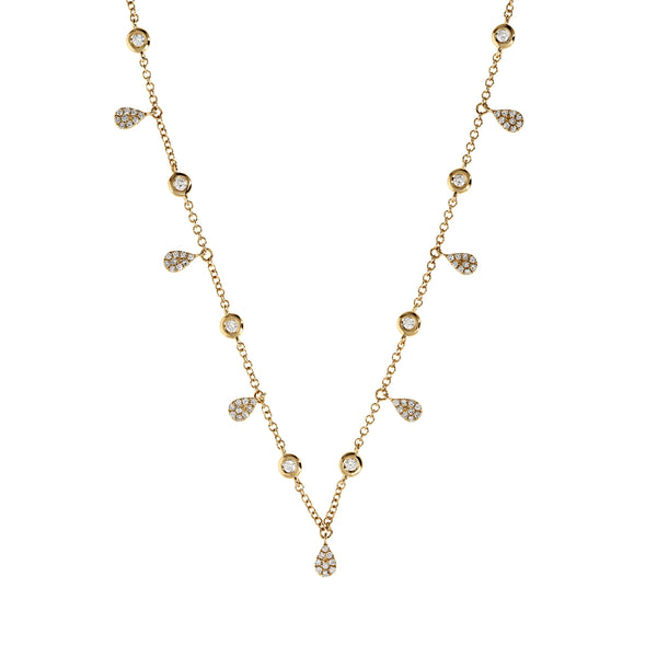 Diamond Teardrop Charm Choker Gold Necklace